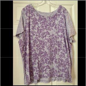 Talbots purple violets Tee 3X EUC (fits like 2X)
